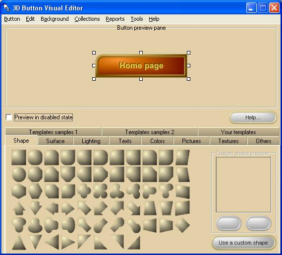 3D Button Visual Editor Screenshot