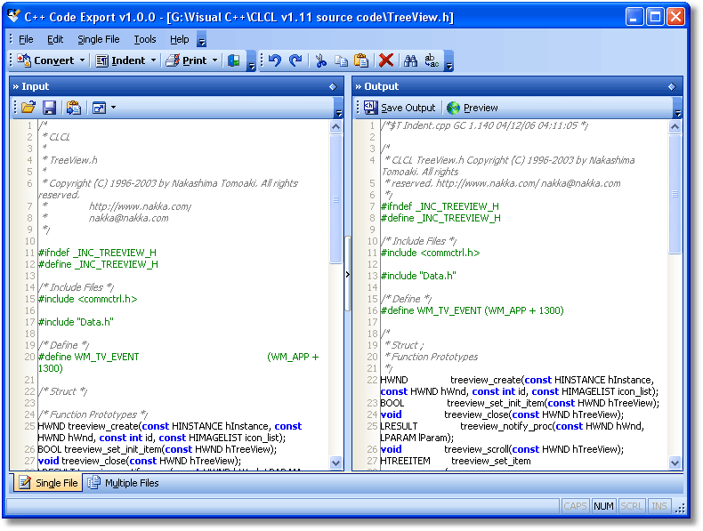 C++ Code Export Screenshot