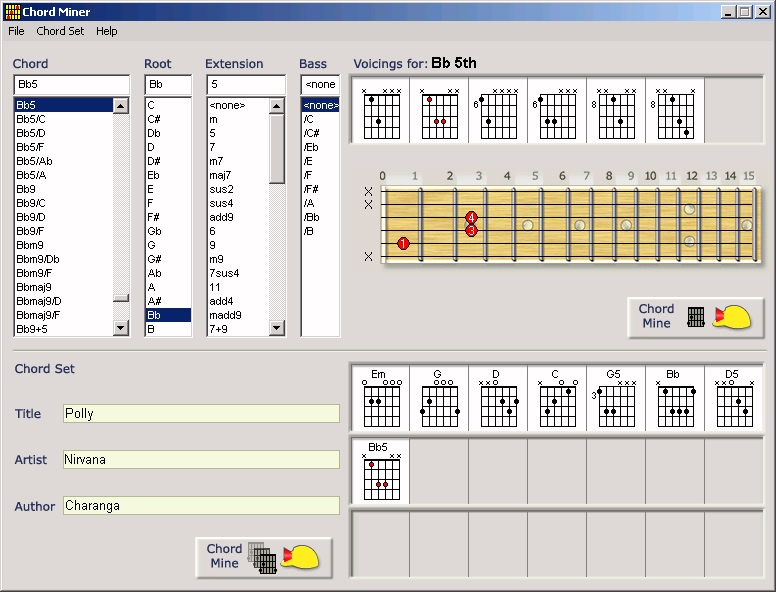 chords on guitar. Manage chords and chord sets