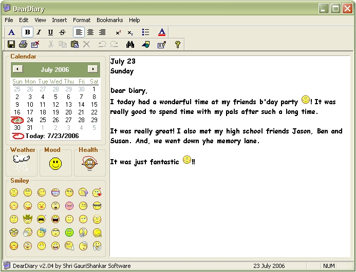 Calendar Diy Software : Sreenshot deardiary diary software
