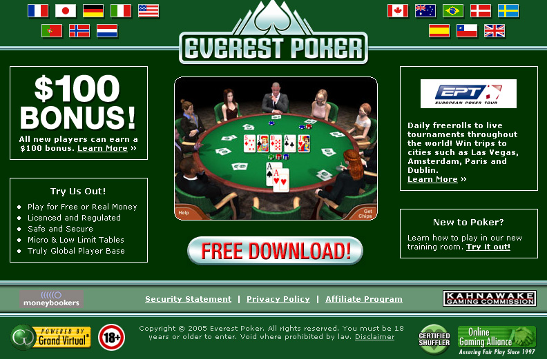 Everest Poker, the best online poker room for United States European