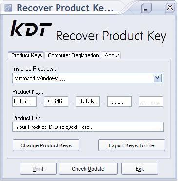 KDT Soft. Recover Product Key Demo Screenshot