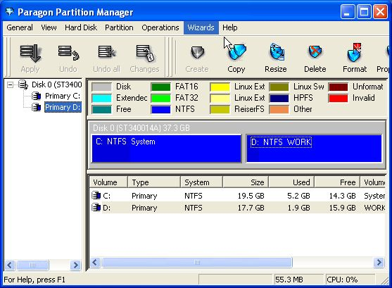 Detailed Description of Paragon Partition Manager Personal 11.