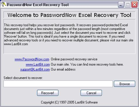 excel recovery porn PasswordNow Excel Recovery Tool Screenshot