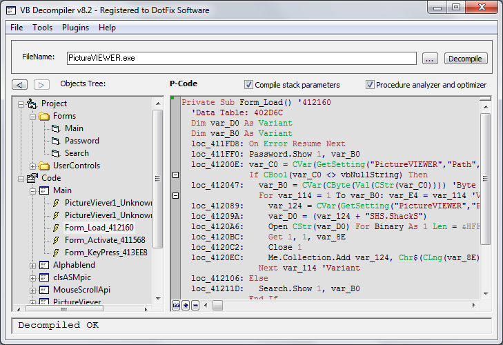 VB Decompiler Screenshot