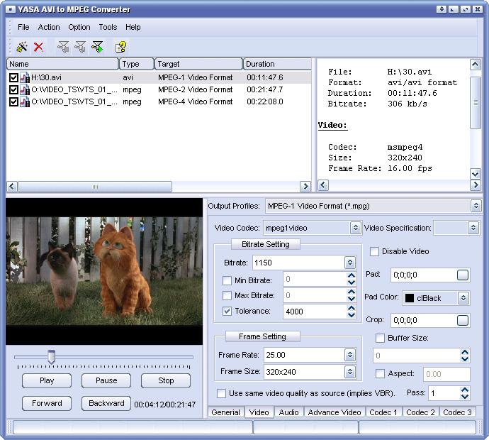 YASA AVI to MPEG Converter Screenshot